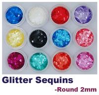 12PCS Coloured Matte Round Glitter Set 2mm (12 Colours) - Chemical Resistant for Nail Art!