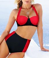 New 2014 VS Free Shipping Red Black Swimsuit Cheap High Waist Bikini Set Vintage Swimsuits Modest Swimwear Maillot De Bain femme