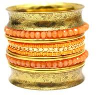 Exaggerated Designed Vintage Indian Bracelets Bangles Jewelry. High Quality Orange Crystal Beaded Mix Chain Link Fashion Bangle
