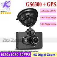 Car DVR GPS Logger 1080P Full HD + 170 Degree Wide angle + IR Night Vision + G-sensor + Motion Detection HDMI/ TV Out GS6300