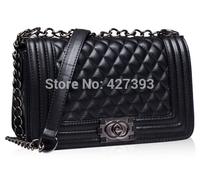 2014 fashion plaid small chain women's handbag leather shoulder bag casual 2 sizes grid styles handbags high quality