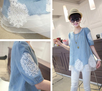 Free shipping Spring 2014 New Blouses Half Sleeve Denim Blouse Women Casual Lace Rhinestone Top grade Woman Denim Shirt Female