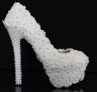 Sweet lace small fresh flower pearl white wedding shoes bridal shoes shoes high-heeled shoes women pumps
