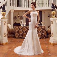 New 2014 custom made Tube top slim  fish tail bandage lacing wedding dress princess women clothing X180
