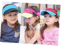 Child hat polka dot bear 100% cotton sunbonnet Girls and Boys  breathable visor