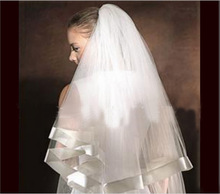 White Fingertip Ivory Veil Soft Cathedral Wedding Veil Silk Tulle Short Birdcage A Bridal Veils With Comb Crystal Veu Para Noiva(China (Mainland))