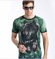 Men Tshirt Breakthrough 3D Luminous Wolf Mens T Shirts Fashion 2014 L,XL,XXL,XXXL T-Shirt Men MR1-33
