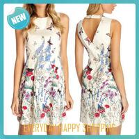 2014 summer new women dress sleeveless white print bow cotton o-neck one-piece dress cute sweetheart dress for women