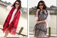 Fashion  Women Scarf, Stole, Shawl, wrap, Long size Cape  plaid Pairs Yarn brand scarf Big size
