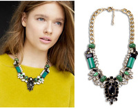 Fashion jewelry designer women, New Brand luxury Gorgeous Emerald Flower Choker statement necklace