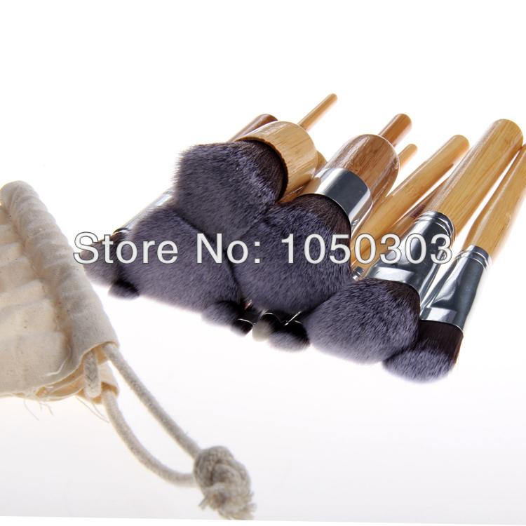 New 2014 Professional Makeup Brushes Set 11 pcs Soft Synthetic Hair Cosmetic Make Up Bamboo Brushes Free Shipping(China (Mainland))