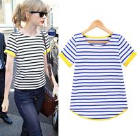 2014 summer Fashion women's o-neck enavy stripe short sleeve T-shirt women basic shirt blouses & shirts free shipping