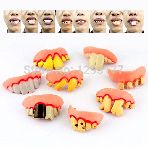 100 Pcs terrível engraçado Goofy podres falso dentes engraçados Halloween Party Favor dentaduras assustadores navio livre DHL(China (Mainland))