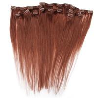 100% Brazilian remy Human Hair Clip-in Straight Hair Extension 20 Clips 8 Weft Dark Auburn Hair Color(#33)16''-28'' 120g