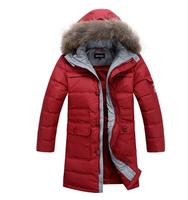 2014 Winter New Children White Duck Down Jacket Fashion Boys Fur Hooded Collar Thick Medium-long Warm Parkas Zipper Outerwear