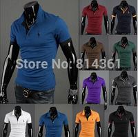 2014 New Stylish Summer Tees Casual Cotton Men Sports T-shirt Lapel Short Sleeve Slim Brand Business Mens Tshirt Free Shipping