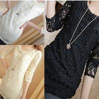 Summer Dress 2014 Pearl Lace Women Blouse Shirt Long Sleeve O-neck Women Slim Chiffon Blouses Casual Clothing Shirts Tops TS1004