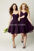 2014 New Arrival Free-Shipping Sweetheart Sleeveless Pleat Chiffon Cheap Bridesmaid Dress Purple Cute Bridesmaid Dress