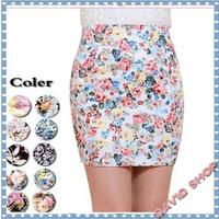 Factory Sale 2014 Summer Fashion women short mini chiffon pencil skirt high Waisted Floral skirt lady package hip skirt