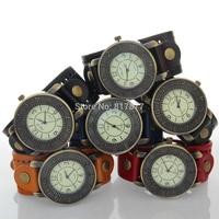 EIFFEL TOWER Men Boys Vintage Casual Genuine Cow Leather Strap Wide Cuff Men's Quartz Wrist Watches Wholesale Free Shipping
