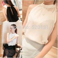 2014 Summer New  Fashion Women's Chiffon Vest Blouses & Shirts Decoration Summer Vest White Black