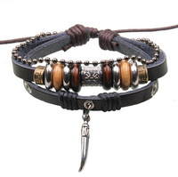 Korean New Fashion Alloy Accessories Wooden Beads Handmade Braided Adjustable Leather Bracelet For Women Men RuYiSLQ256