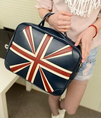 New Women Messenger Bags Leather Patchwork UK Flag Vintage Handbags Car suture messenger bags Shoulder Bag Handbags Clutch bag(China (Mainland))