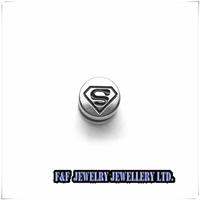 Stainless Steel Stud Earrings Men Unisex Black Superman Hero , Free shipping,E#073