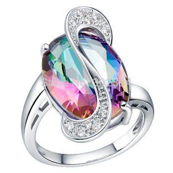 2014 новый 925 белый позолоченный кольцо обручальное любовь цвета циркон кристалл ...