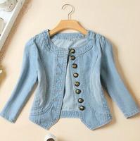 2014 new women's O-neck sleeve denim jacket jeans jacket Women Short Jacket sy-384
