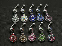 crystal water drop dangle belly ring 10pcs mix color surgical steel 14g bell button ring body piercing jewelry navel bar