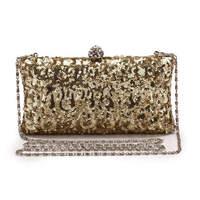 Free shipping 2014 new brand bag fashion gold sparkle bride metal clad dinner hand bag ladies handbag Mini Pack