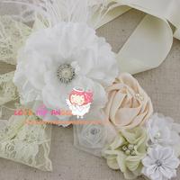 Free shipping sample order 1pcs White Sash Flower Sash Wedding Sash Baby Girl Sash Photography Props