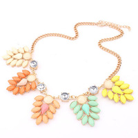 Big brand  fluorescent color flower shining temperament Rhinestone short necklace