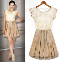 New Spring Summer Womens Court Style Retro Fashion Lace Sleeveless Vest Dress Tonsee