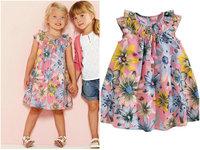 Wholesale 6pcs/lot Girls Dress 100% cotton 2014 summer flower baby dress Bohemian style girl print princess dress child dress