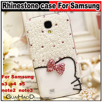 Cute Bowknot hello kitty Pearl diamond Rhinestone case For Samsung Galaxy s3 i9300 s4 i9500 S5 i9600 note2 n7100 note3 n9000