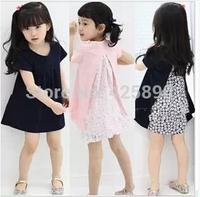 2014 Summer new Korean children's clothing girls summer short-sleeved floral dress princess dress 2 colors