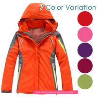 Women's Outdoor Jacket Double Layer 2 in 1 Waterproof Climbing Skiing Hiking Camping Jacket Windbreaker Windproof Warm Coat