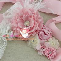 Sample order Free shipping 1 pcs Flower Girl Pink Sash Bridesmaid sash, pregnancy belt,Feather sash, peony flower sash