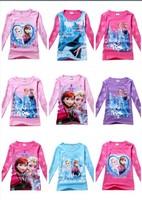 DHL Free Shiping Frozen Elsa and Anna Cotton Long Sleeve T-shirt For Girls New 2014 Cartoon Cute Elsanna Children Clothing Kids