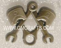 Masonic lapel pin, pin badge, metal emblem, Piston Wrench Harley Antique Nickel Biker Masonic Tools Hat Jacket Lapel Pin