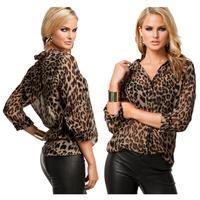 Fashion Womens Casual Leopard Print Shirt Long Sleeve Blouse Chiffon Tops Y52 E2732