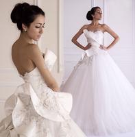 Brand Design 2015 Wedding Dresses A Line Sweetheart Handmade Flower Beads Ruffle Sweep Train Bridal Gowns yk1A124