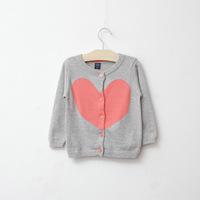 fashion hot sale brand design little girl heart shape cardigans sweatercoat knitwear 1-4 years