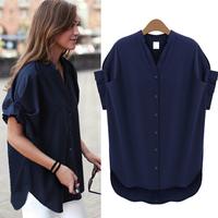 2014 Fashion elegant women's stand collar loose navy blue chiffon shirt women fashion apparel short sleeve blouses & shirts
