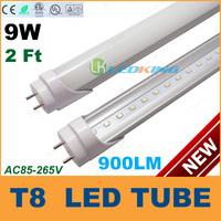 T8 LED Tube Light 9W 2ft 600mm 0.6m 2feet LED fluorescent tube lamp SMD2835 High brightness 990LM AC85-265V