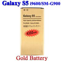 4350mah Gold battery For Samsung Galaxy S5 SV i9600 SM G900F G900H G900P/V Batterie Bateria Batterij Accumulator AKKU PIL 10 pcs
