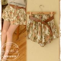 2014 summer flower print casual low-waist shorts with belt mori girl