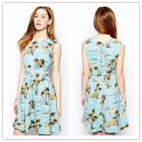 2014 New summer fashion sleeveless palm tree print women dress for summer sundress for girls women clothing  N26768